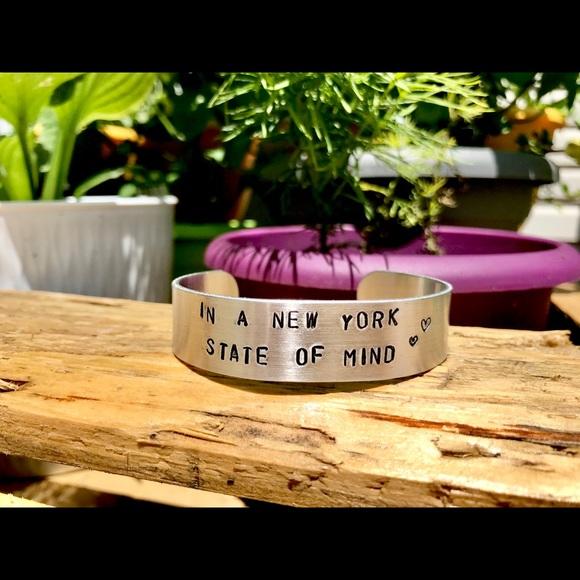 Hand stamped adjustable metal cuff bracelet